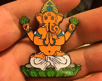 Meditating Ganesha Hat pin