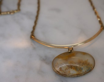 14K Yellow Gold Filled Dendritic Agate Pendant Necklace