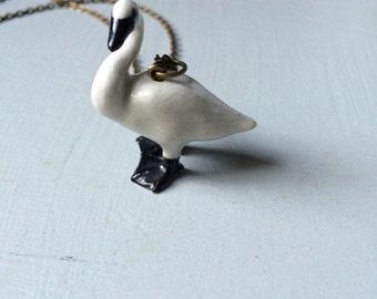 Ceramic swan necklace