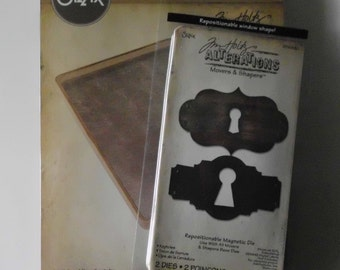 Tim Holtz, Sizzix, Movers and Shapers, L Base Tray, Magnetic Dies, Keyholes, Tim Holtz Alterations Base Tray, Key Dies, Keyhole Dies