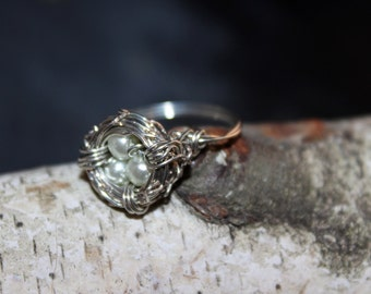 Silver Nest ring with White Stones