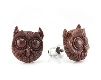 "Hand Carved - ""Night Owl"" - Wood Stud Earring - Wisdom of Owls"