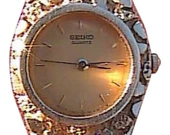 SEIKO 14k Yellow Gold Nugget Watch Bracelet