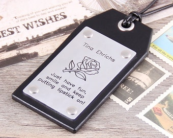 Travel Leather Luggage Tag - Custom Leather Tag - Personalized Rose Luggage Tag - Handmade Leather Luggage Tag