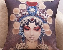 Chinese Opera Singer Cushion and insert 45cmx45cm