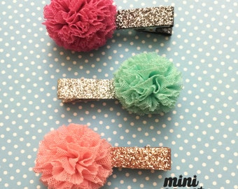 mini Katie Mesh Ball Hair barrette, Premium hair clip for baby girls Toddler