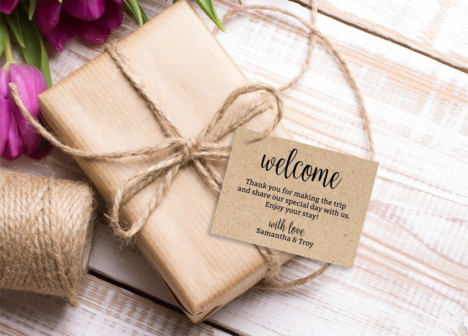 Welcome Bag Gift Tags Wedding Welcome tag editable by BSNPartyArt