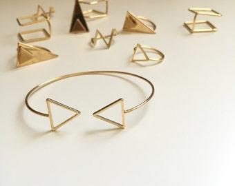 SunJewel gold triangle cuff bracelet jewelry gift