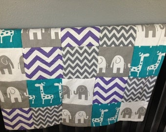 Baby Patchwork Blanket, gray, turquoise and purple, minky backed with chevron, elephant and giraffe prints