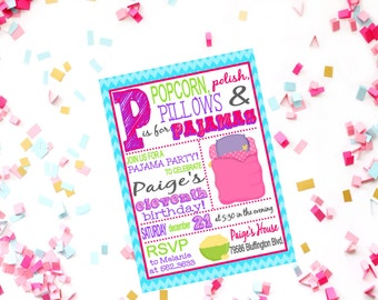 Girls Sleepover Birthday Invitation - Pajamas Party Birthday - Girls Night Movie Birthday Printable Invitations