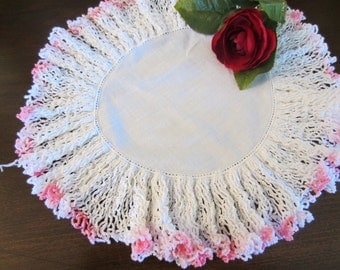 Vintage White Doily with Pink Tipping