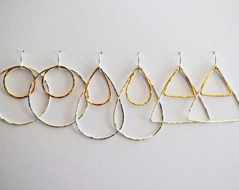 Hammered Two-Tone Earrings