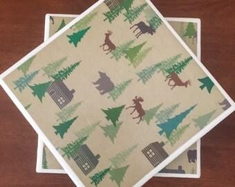 Deer coasters, moose coasters, Outdoor coasters, cabin coasters, ceramic tile coasters, tile coasters, coaster set, drink coasters