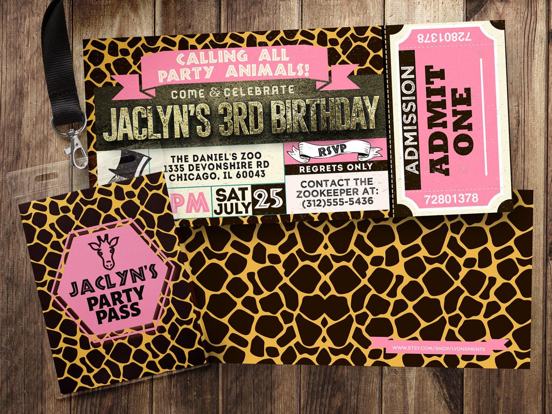 Ticket invitation, ZOO, birthday invitation, baby shower, leopard ...
