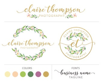 Premade logo package floral logo gold logo glitter logo marketing package wreath flower logo photography logo