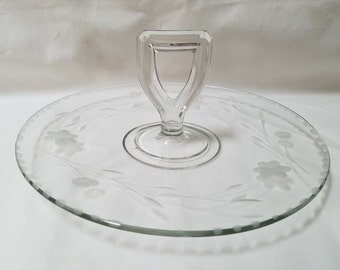 Hand Etched Glass  Serving Plate, Tidbit Serving Tray, Sandwich Tray (874)