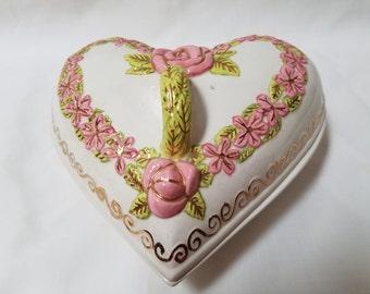 Heart & Floral designed  Covered Trinket Box (879)