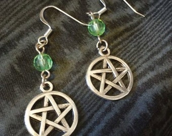 pagan earrings,pentacle