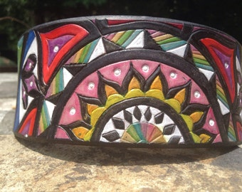 Rainbow Roulette Mandala -- Tooled Leather Collar