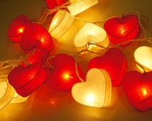 Exotic Elegance Set of 20 Heart Mulberry Paper String Lights /Home Decor/ Valentine's Party, Red and White.