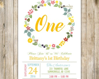 Floral ONE Invitation, BIRTHDAY TEA Party Invitation, Floral Wreath Birthday Party, Girl 1st Birthday Invite, Spring Birthday, Rustic Summer