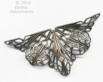 Ornamental oxidized brass stamping pendant. 55x30mm Pkg. of 1. b9-0528(e)