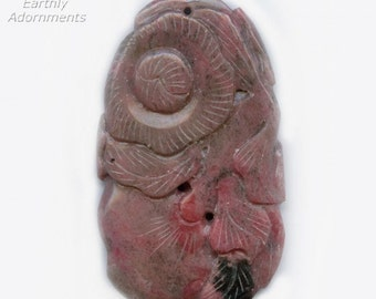 Vintage carved rhodonite pendant, c. 1970s. B4-rho422(e)