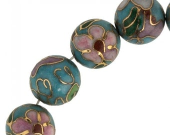 Contemporary 10mm turquoise blue cloisonne bead. Pkg of 4. b2-0065(e)