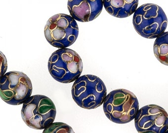 8mm dark blue cloisonne bead. 8mm. Pkg of 5. b2-0073(e)