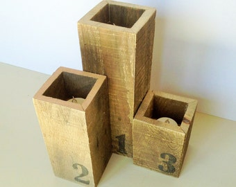 Rustic Votive Candle Holders (set of 3)