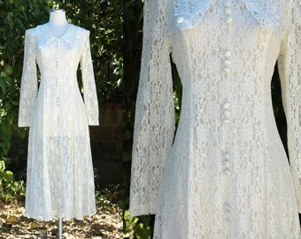 1980s White Lace Midi Dress with Long Sleeves // 80s Casual Wedding Dress
