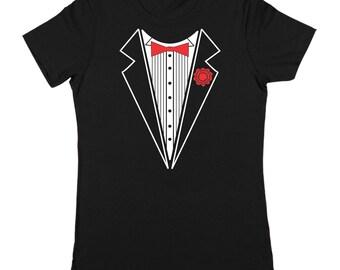 Tuxedo W/ Red Carnation Funny Geek Humor Wedding Party Women's Jr Fit T-Shirt DT1338