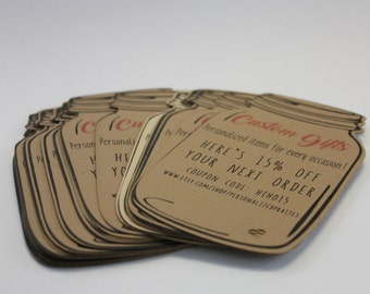 Custom cards pack of 25- business cards, coupons, card stock cut into any shape