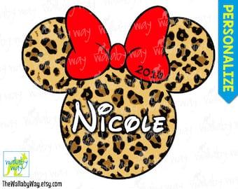 Disney Safari Minnie Mouse Head Printable Iron On Transfer Leopard Cheetah Print with Red Bow - DIY Personalize Animal Kingdom Disney World