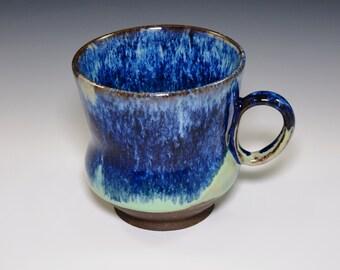 Handmade Stoneware Coffee Mug in glossy dark blue and turquoise glazes