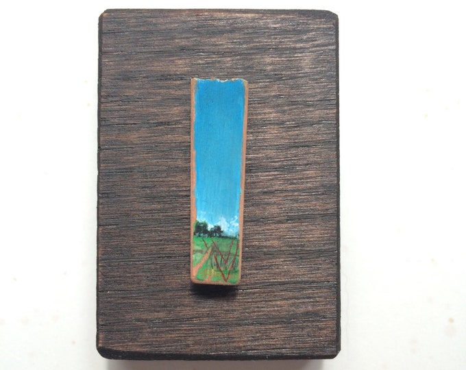 comme ci / one original tiny landscape painting on wood / geometric abstract accents in country landscape