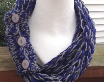 Cowboys Scarf Dallas Cowboys Scarf Dallas Scarf Football Scarf Finger Knit Infinity Eternity Circle Chunky