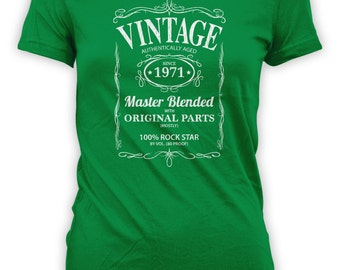 Vintage Whiskey Label Birthday Shirt Born 1971 - Celebrating 45th Birthday, Gifts for Him, Gifts for Grandpa, Gifts for Dad Bourbon CT-1060