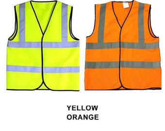 Yellow Orange Child & Baby Reflective Safety Vests Hi Visibility Printable Sport Groups School Size 0-6 or 6-12 mo 1-2, 3-5, 6-8, 9-12 years