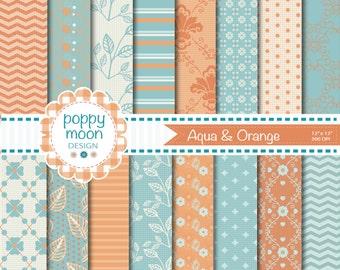 Aqua and Orange patterns and florals,printable digital paper pack