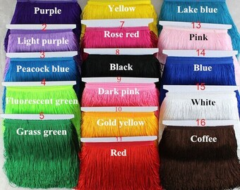 1 YARD 6 Inches BLUE Gold Pink Green Yellow Red Purple Black Tassel Tassle Fringe Lace Trim Dress Curtain Pillow Lace Trim 10 Inches Wide