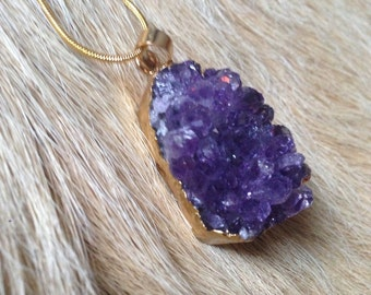 Gold Amethyst Crystal Cluster Pendant Necklace