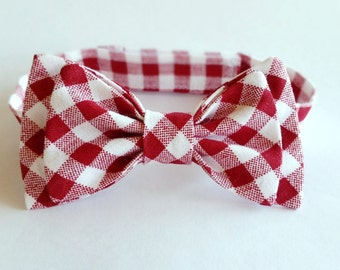 Red gingham check bowtie for babies, boys and men