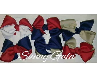 School Uniform Hair Bows...Navy and Oatmeal…Red and Navy....White and Red....6 Count....Girls Hair Bows....Two-toned Hair Bows
