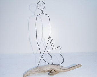 Continuous wire, Musician driftwood and wire sculpture. Figure sculpture, hand crafted music sculpture. Wire work. guitar sculpture.
