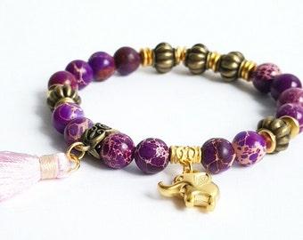 Gemstone bracelet, purple gemstone stretch bracelet, beaded bracelet, boho bracelet, elephant bracelet, everyday bracelet, yoga bracelet.