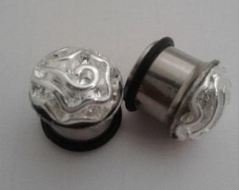 Sterling silver Rosebud ear plugs single flare steel tunnels 14mm 9/16