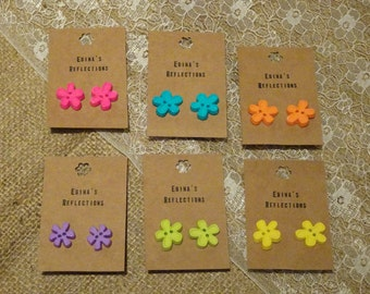 Bright colored flower shape button stud earrings