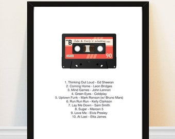Mix Tape Print - Cassette Tape - Mixtape - Personalized Song Art Print - Mix Tape - Retro Music Art - Wedding Gift Idea