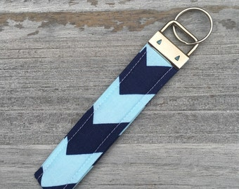 Trendy Blue Chevron Patterned Key Fob/Key Ring